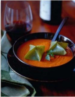 Sweet Pepper Soup, Basil Manti and Hazelnut Yogurt by Matthew Kenney