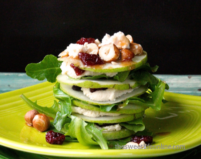 Vegan Goat Cheese Stacked Salad