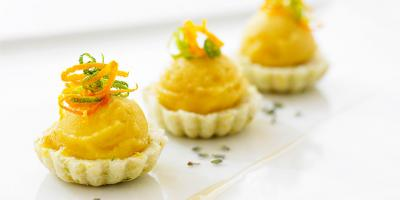 Citrus Tartlets with Macaroon Crust, and Lavender Broth