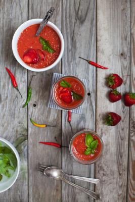 Spicy Strawberry Gazpacho