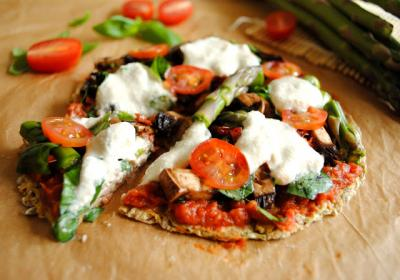 Raw Asparagus Pizza with Garlic Zucchini Crust and Melted Mozzarella Cashew Cheese