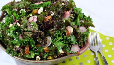 Lemon Vinaigrette Kale Salad with Macadamia Feta