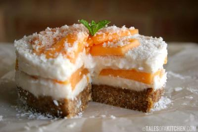 Coconut Rock Melon Mousse Cake