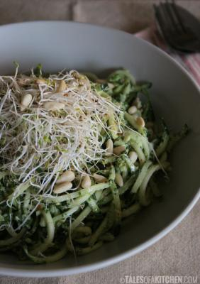 Zucchini Noodles with Kale Pesto, Sprouts, and Pine Nuts