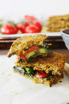 Tomato Cucumber Sandwich on Onion and Corn Bread with Olive and Kale Tapenade