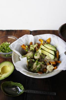 Raw Vegan Poutine with Mushroom Gravy, Cashew Cheeze, and Jicama Fries