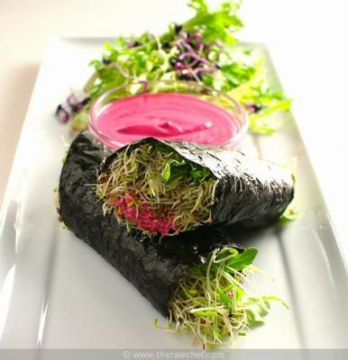 Pink Nori Sprout Rolls by Russel James