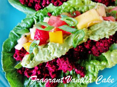 Raw Beet Tacos with Strawberry Mango Salsa