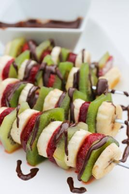 Fruit Salad Kabobs w/Sweet Sunflower Balsamic Dip & Sunflower Chocolate Dip