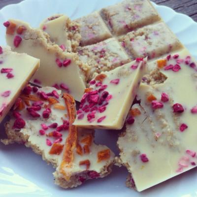 White Chocolate with Freeze Dried Raspberries and Raw Vanilla