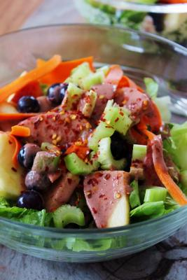 Fruity Salad with Strawberry Dressing