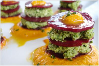 Beauty Beets With Parsley Pesto & Sweet Pepper-Fennel Cream by Natalia