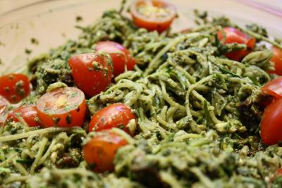 Oodles of Raw Noodles - Spinach Basil Pesto by Heather Pace