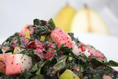 Winter Kale Salad with Cranberry Poppy Seed Dressing by Diana Stobo