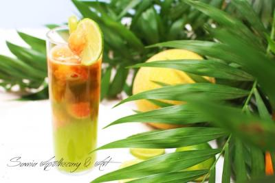 Tropical Summer Cocktail with Melon Payaya and Lime