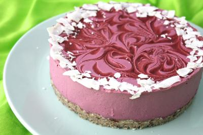 Lemon Hibiscus Raspberry Cheesecake
