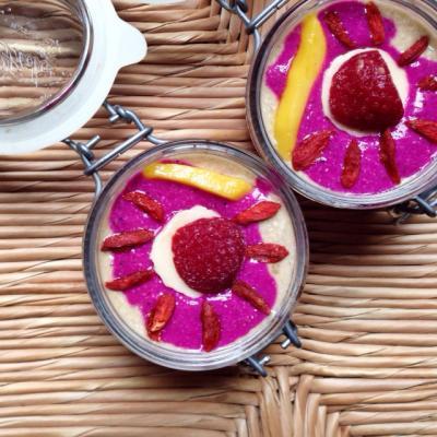 Dragonfruit Buckwheat Layered Smoothie Jars