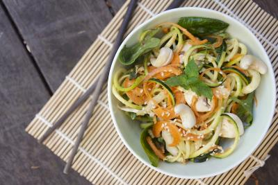 Zucchini and Carrot Noodles with Sesame Apricot Dressing