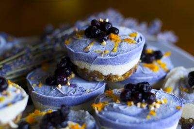 Raw Blueberry Orange Cheesecake Mini Tarts