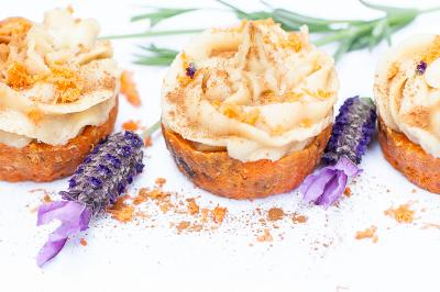 Raw Carrot Cupcakes with Orange and Vanilla Cream Frosting
