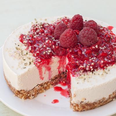 Raw Vegan Raspberry Vanilla Cheesecake