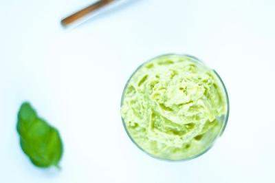 No Churn, Avocado Basil Ice Cream