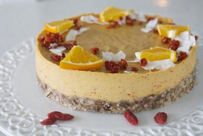 Orange Goji Berry Coconut Cheesecake