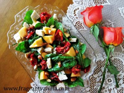Summer Cantaloupe, Sun Dried Tomato and Macadamia Chevre Salad