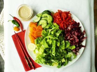 Rainbow Salad with Spicy Thai Dressing by Carla Aguas