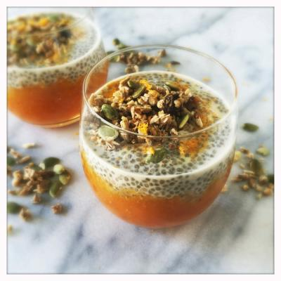 Vanilla Cardamom Chia Pudding with Persimmon Orange Jam