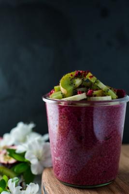 Pink Chia Pudding with Sweet Beets