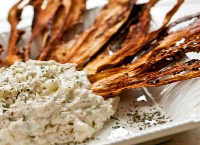 Eggplant Chips with Cucumber Dip by Susan Powers