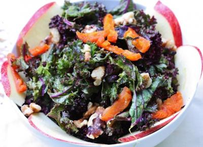 Purple Kale Salad with Creamy Apricot Ginger Dressing, Apples, and Walnuts