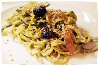 Zucchini Pasta with Basil Pesto and Pumpkin Seed Parmesan