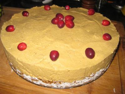Pumpkin Cheesecake with Orange Toffee Crust