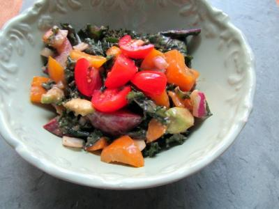 Peachy Massaged Kale Salad with Tamarind Dressing