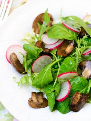 Glazed Mushrooms with Greens