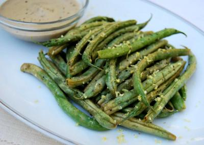 Raw Wilted Green Beans with Mustard Cream Dipping Sauce (nut free)