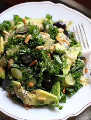 Massaged Kale Salad and Grapes with Poppy Seed Dressing
