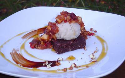 Chocolate Pecan Brownies with Maple Maca Ice Cream and Spiced Apple Compote