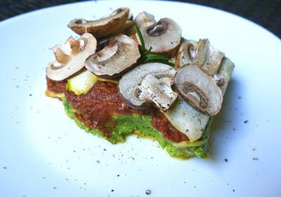 Oil-Free Raw Vegan Lasagna Recipe with Pesto, Tomato, and Cheese