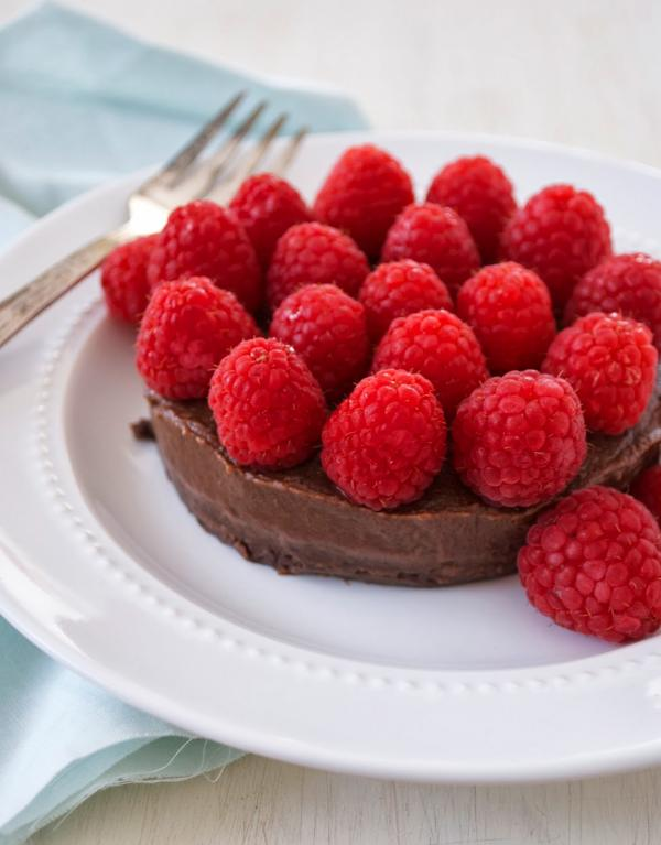 Low Fat Chocolate Brownie Cake with Raspberries