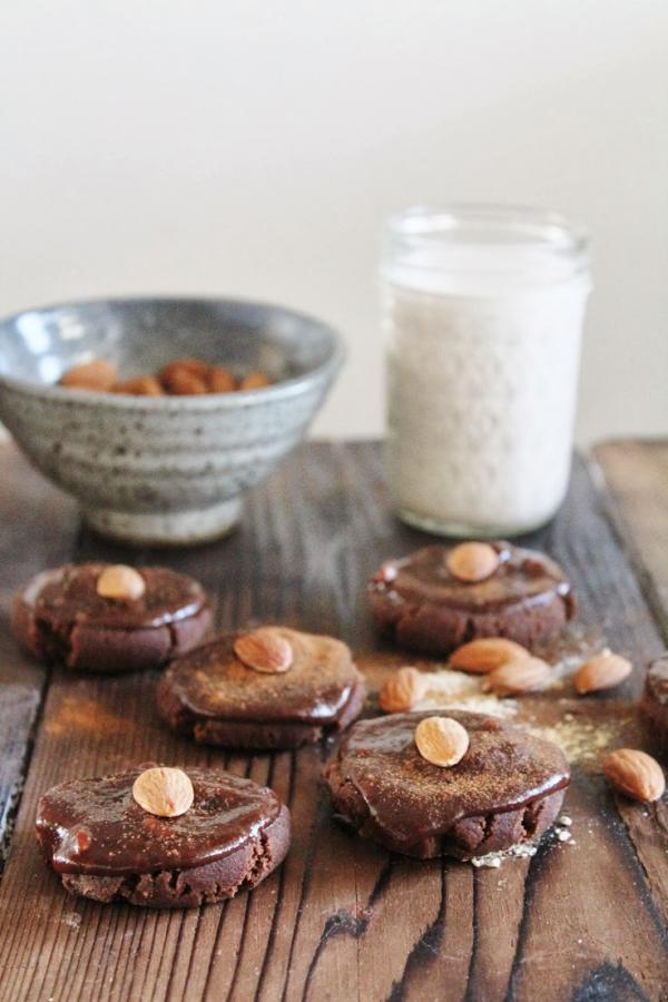 Chocolate Almond Cookies with Fudgy Frosting
