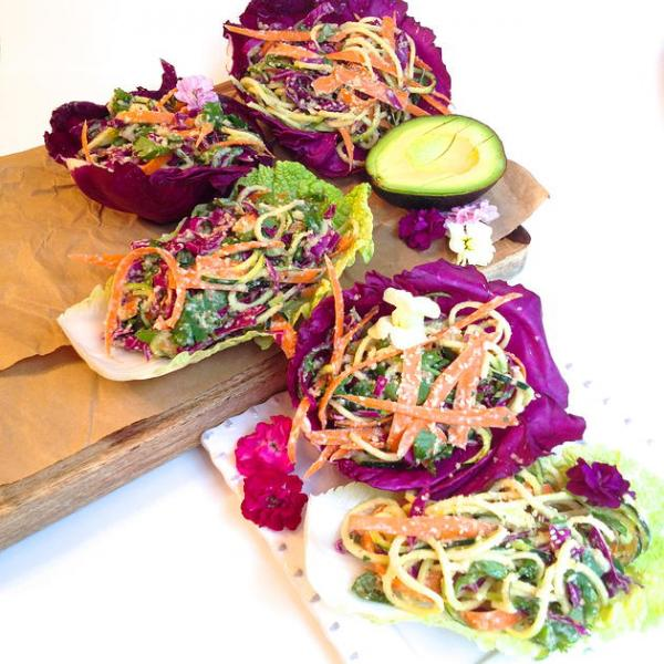Thai Lettuce Wraps with a Spicy Almond Ginger Dressing