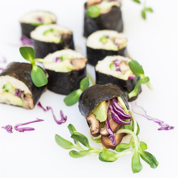 Raw Sushi Rolls with Jicama Rice and Shitake Mushrooms