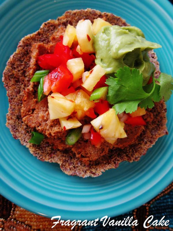 Raw Lentil Tostadas with Pineapple Salsa