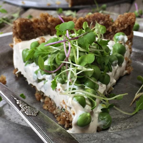 Fresh Herb and Sweet Pea Pie with Balsamic Pepper Crust