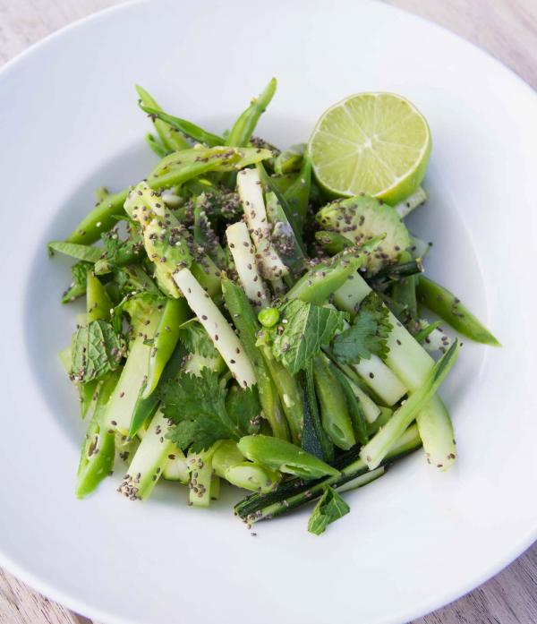 Green Bean, Cucumber and Mint Salad with Avocado and Chia