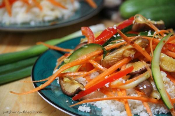 Asian Style Marinated Vegetables with Cauliflower Rice