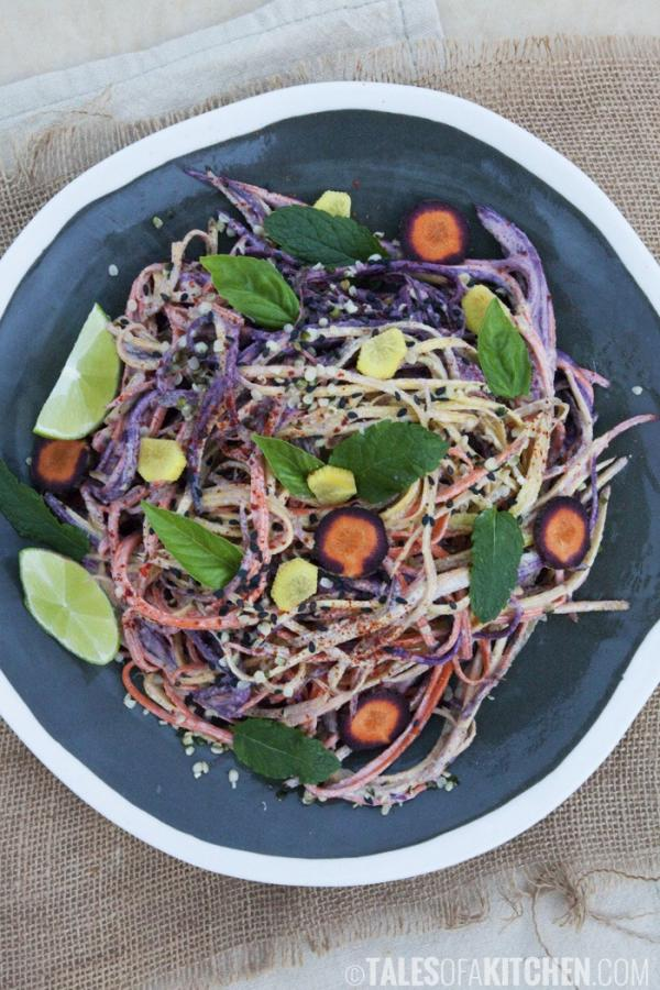 Rainbow Carrot Noodles with Yuzu Miso Sauce